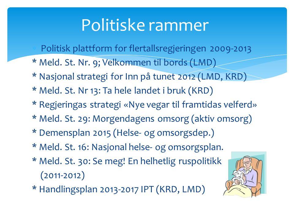 Politiske rammer Politisk plattform for flertallsregjeringen 2009-2013