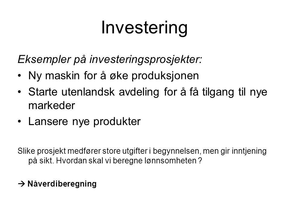 Investering Eksempler på investeringsprosjekter: