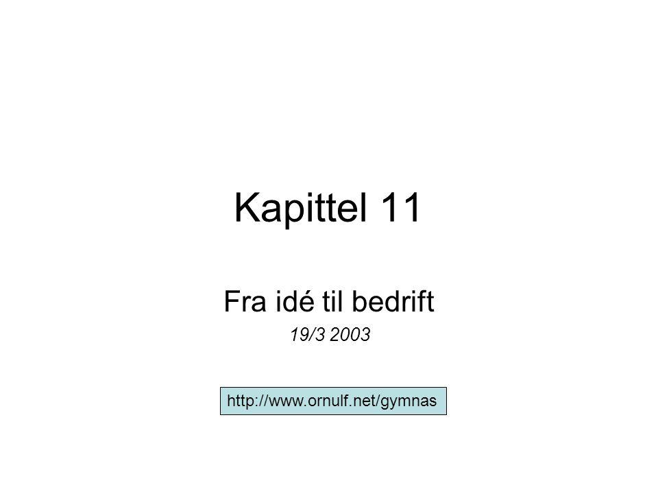 Kapittel 11 Fra idé til bedrift 19/3 2003 http://www.ornulf.net/gymnas