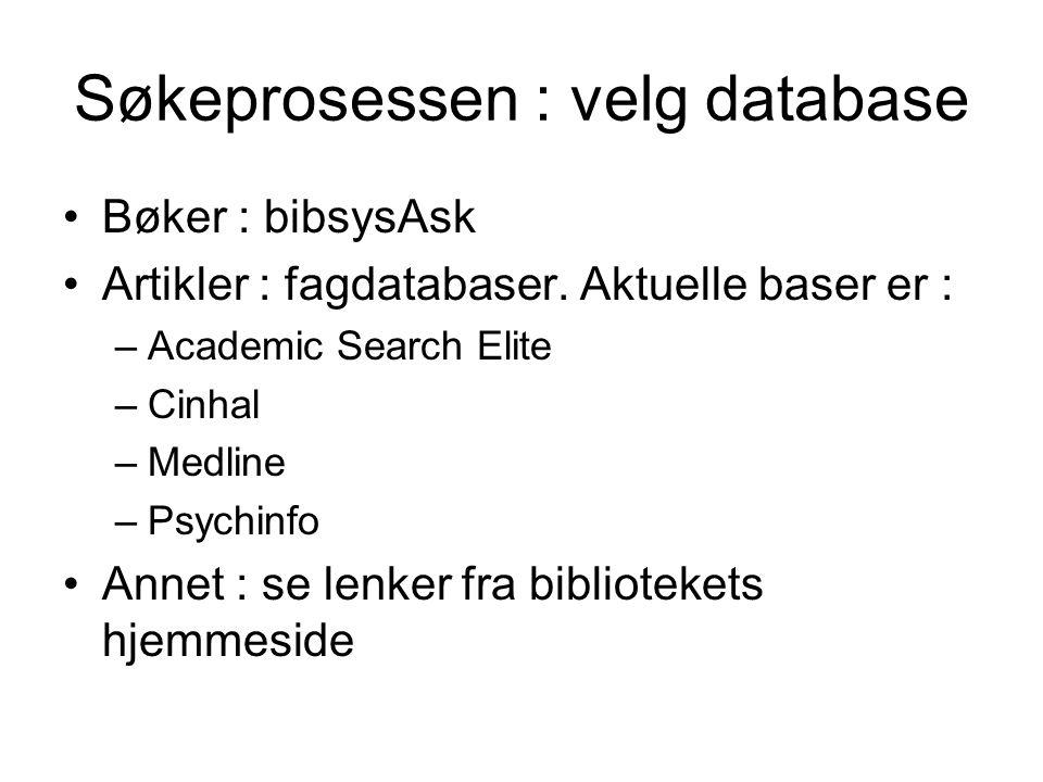 Søkeprosessen : velg database