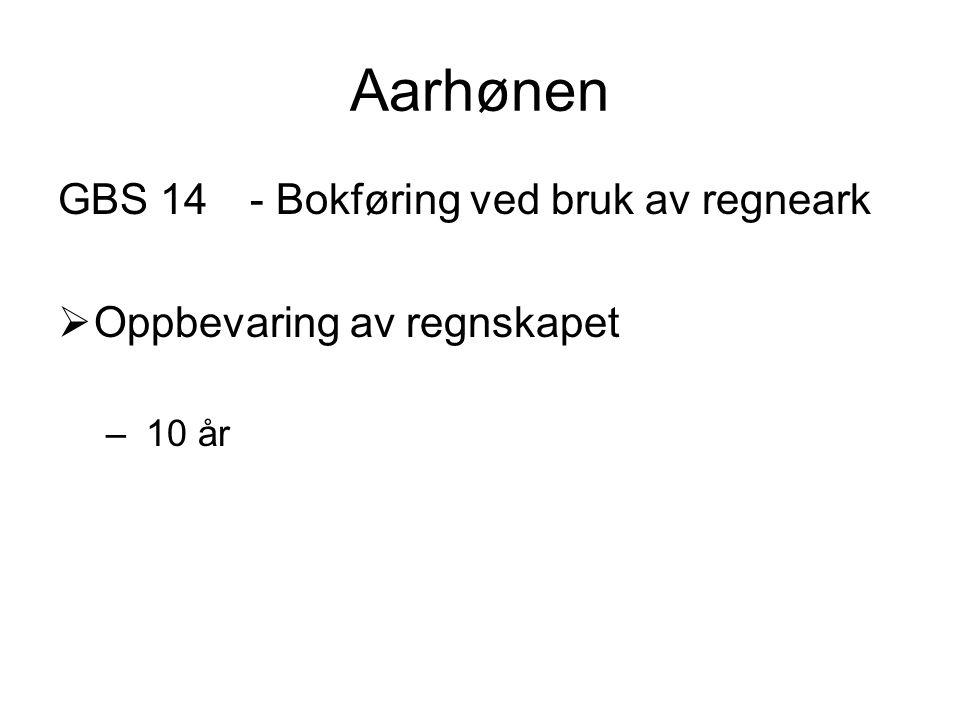 Aarhønen GBS 14 - Bokføring ved bruk av regneark