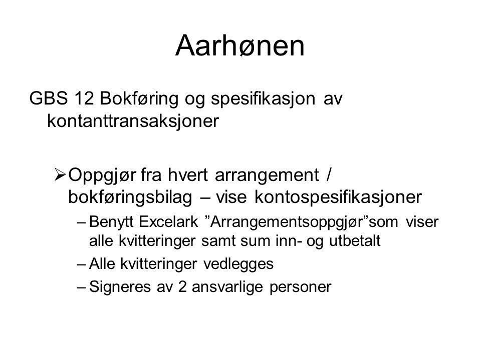 Aarhønen GBS 12 Bokføring og spesifikasjon av kontanttransaksjoner