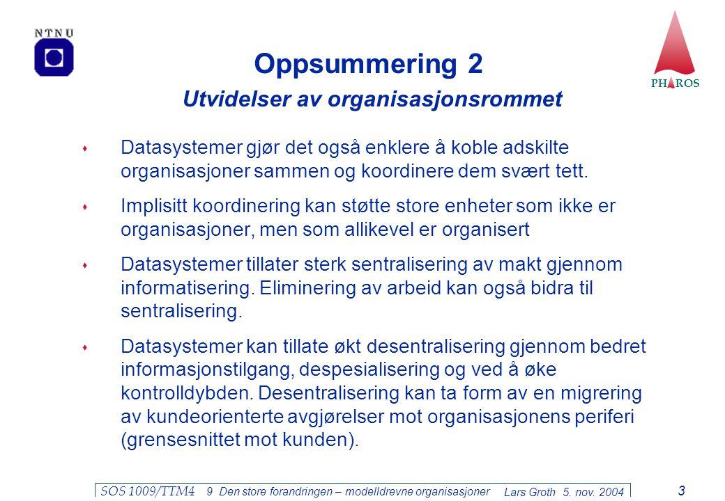 Oppsummering 2 Utvidelser av organisasjonsrommet