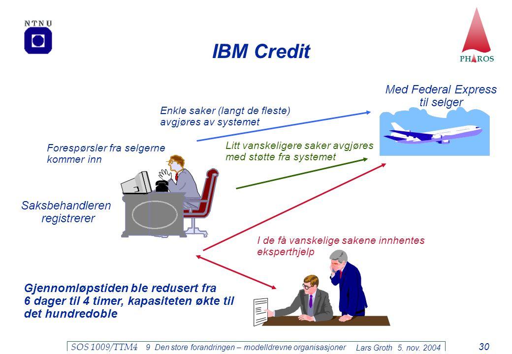 IBM Credit Med Federal Express til selger Saksbehandleren registrerer