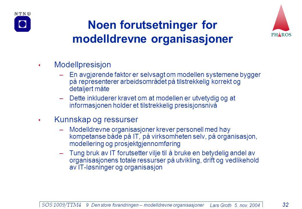 Noen forutsetninger for modelldrevne organisasjoner