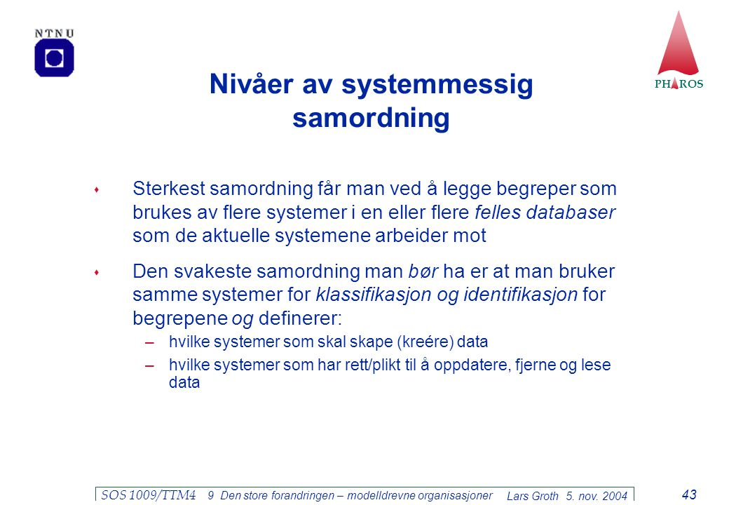 Nivåer av systemmessig samordning