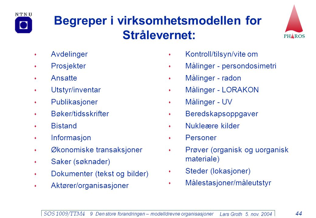 Begreper i virksomhetsmodellen for Strålevernet: