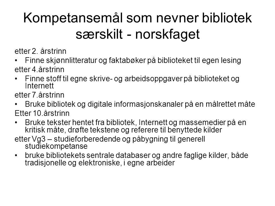 Kompetansemål som nevner bibliotek særskilt - norskfaget