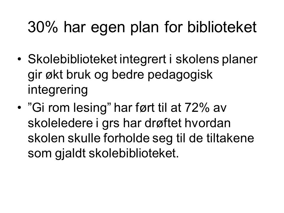 30% har egen plan for biblioteket