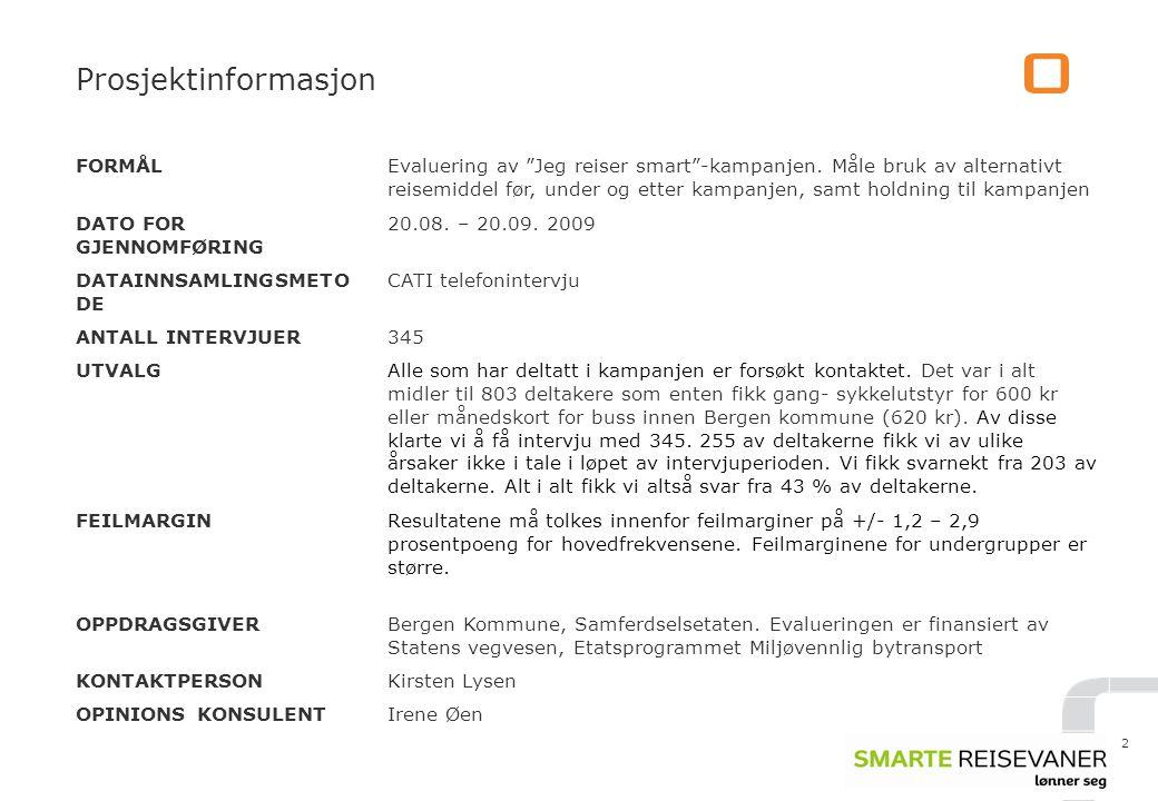 Prosjektinformasjon FORMÅL