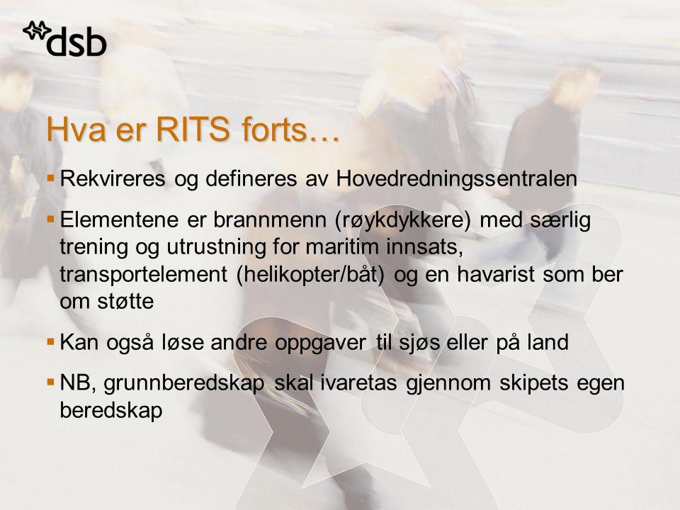 Hva er RITS forts… Rekvireres og defineres av Hovedredningssentralen