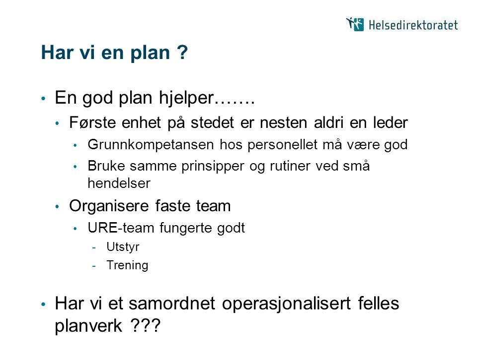 Har vi en plan En god plan hjelper…….