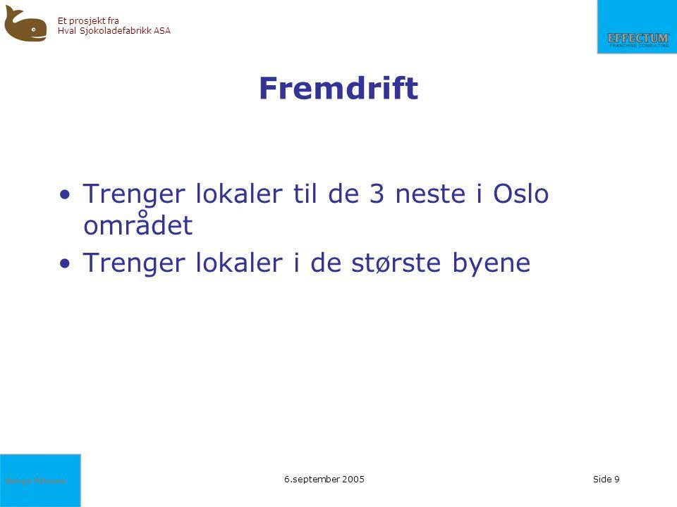 Fremdrift Trenger lokaler til de 3 neste i Oslo området