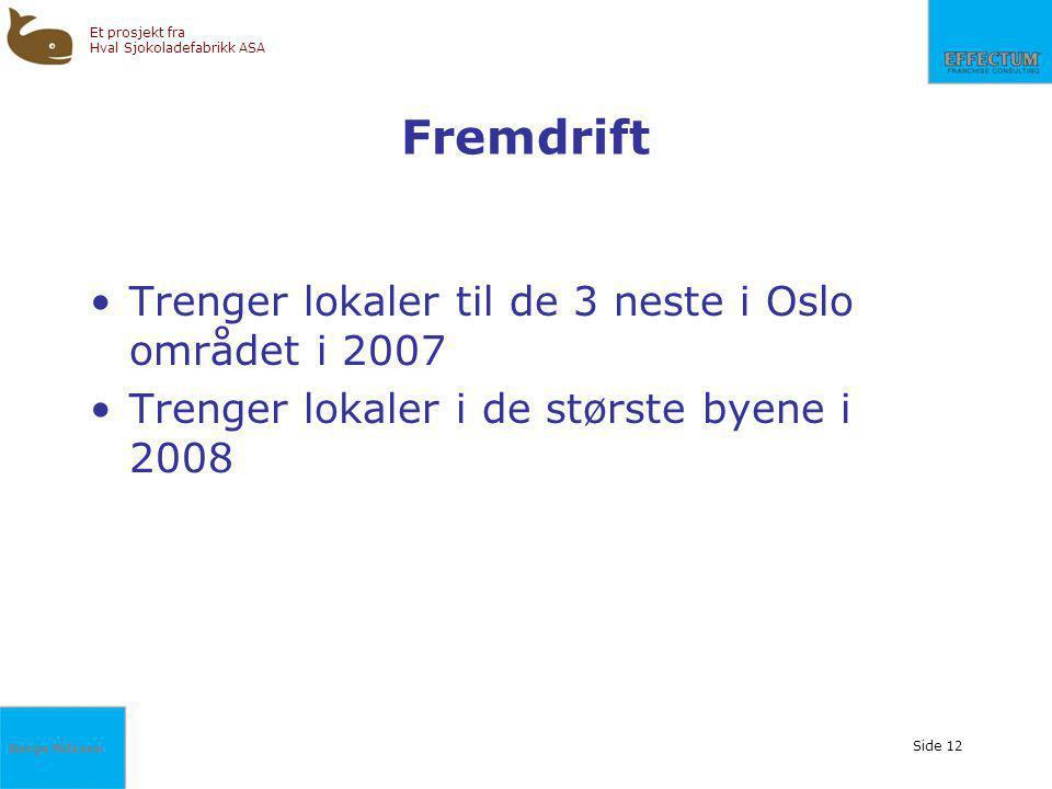 Fremdrift Trenger lokaler til de 3 neste i Oslo området i 2007