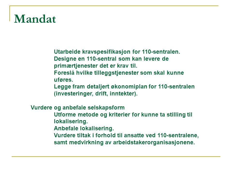 Mandat Utarbeide kravspesifikasjon for 110-sentralen.