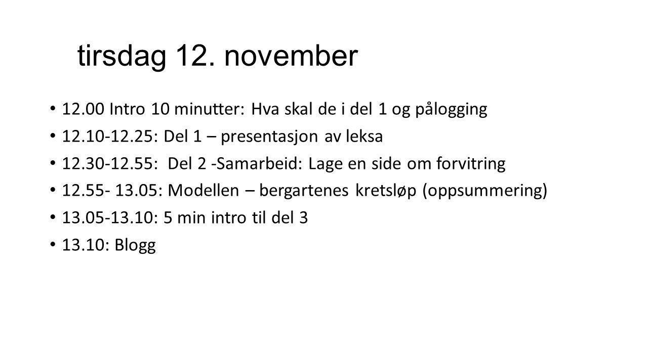 tirsdag 12. november 12.00 Intro 10 minutter: Hva skal de i del 1 og pålogging. 12.10-12.25: Del 1 – presentasjon av leksa.