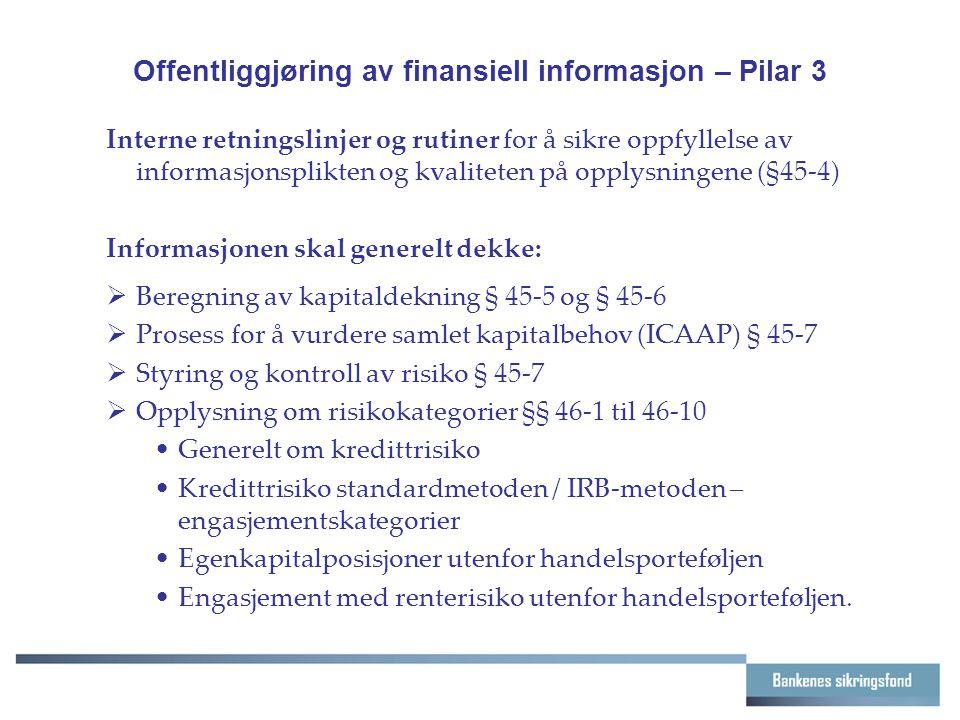 Offentliggjøring av finansiell informasjon – Pilar 3