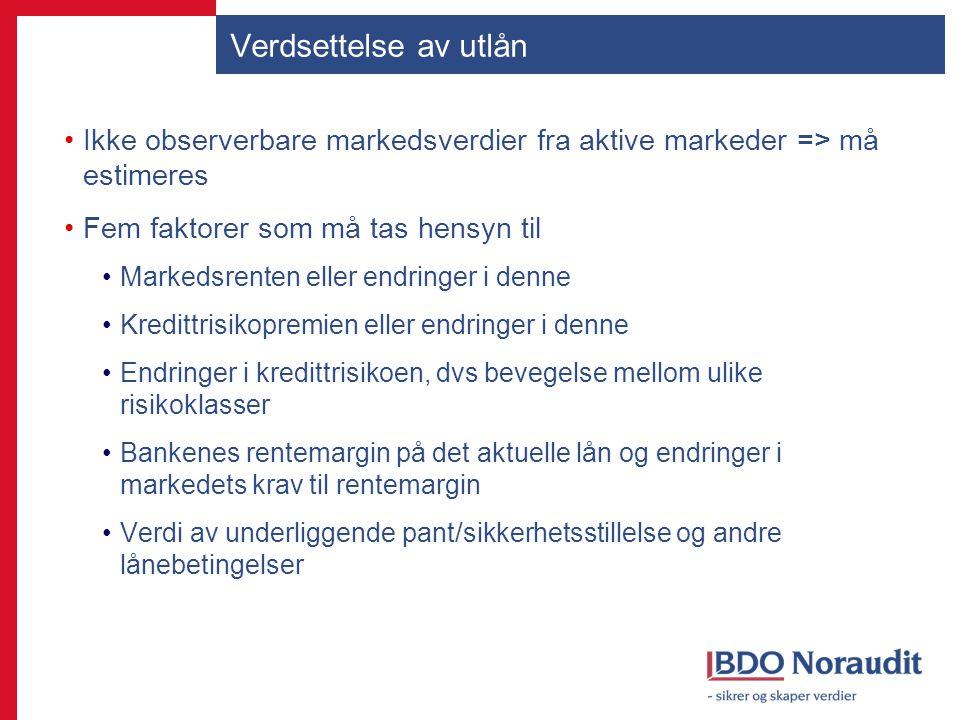 Verdsettelse av utlån Ikke observerbare markedsverdier fra aktive markeder => må estimeres. Fem faktorer som må tas hensyn til.