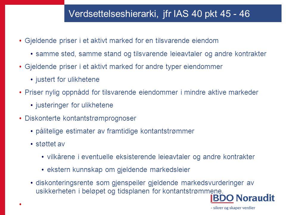 Verdsettelseshierarki, jfr IAS 40 pkt 45 - 46