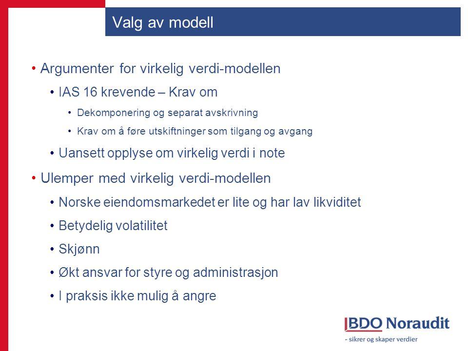 Valg av modell Argumenter for virkelig verdi-modellen