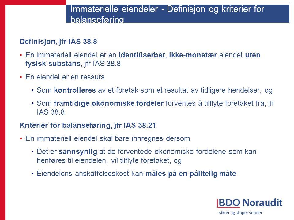 Immaterielle eiendeler - Definisjon og kriterier for balanseføring