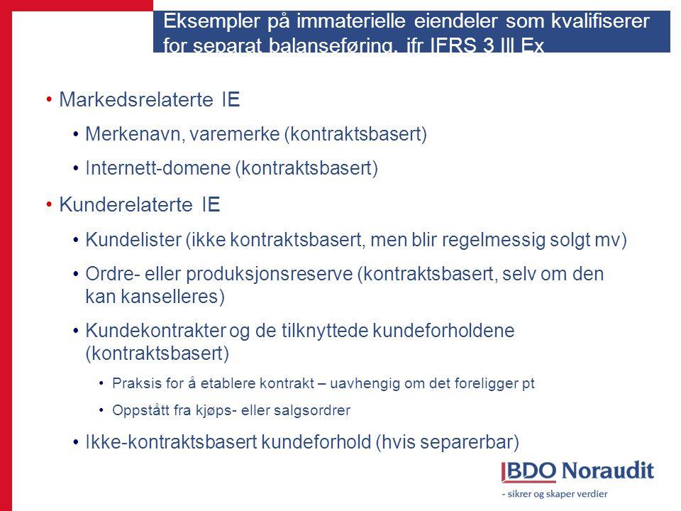 Eksempler på immaterielle eiendeler som kvalifiserer for separat balanseføring, jfr IFRS 3 Ill Ex
