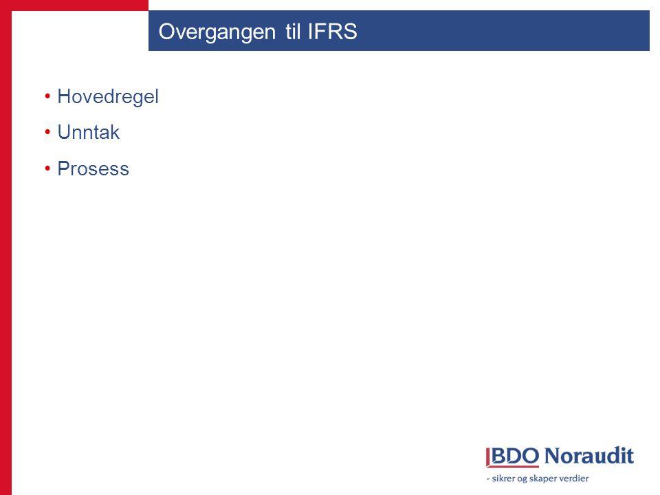 Overgangen til IFRS Hovedregel Unntak Prosess