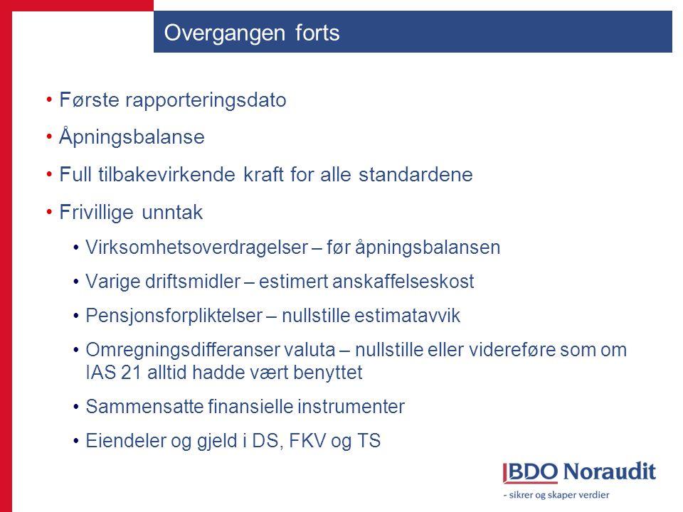 Overgangen forts Første rapporteringsdato Åpningsbalanse