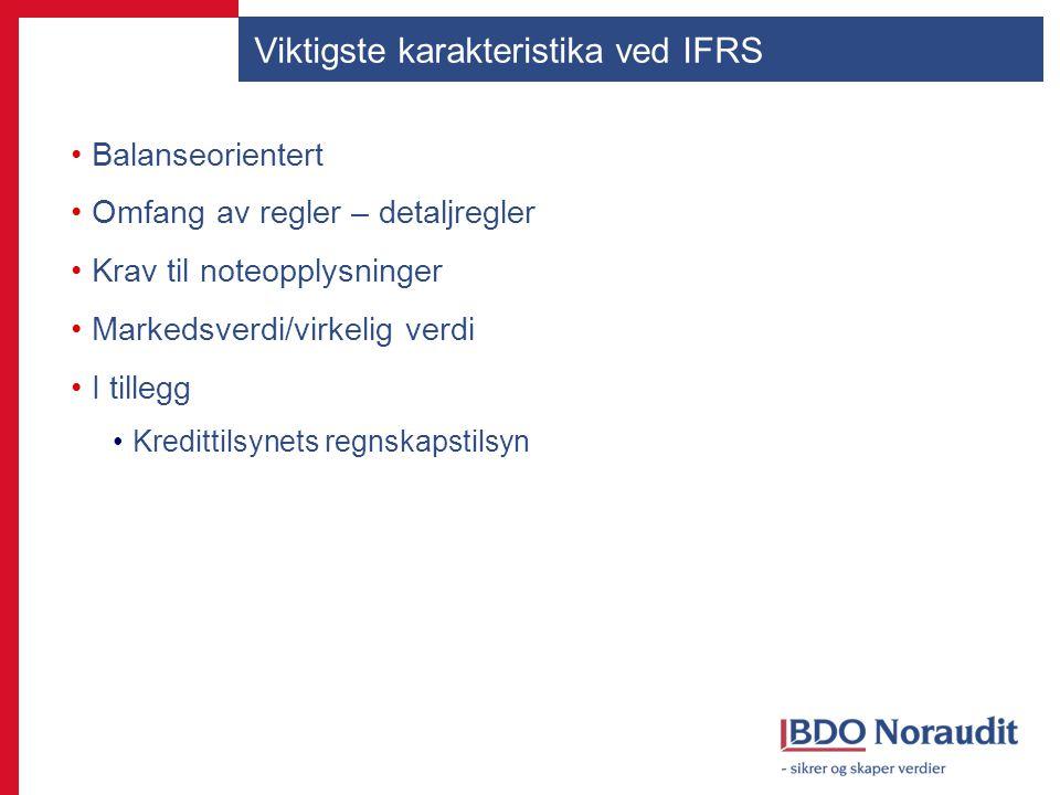 Viktigste karakteristika ved IFRS