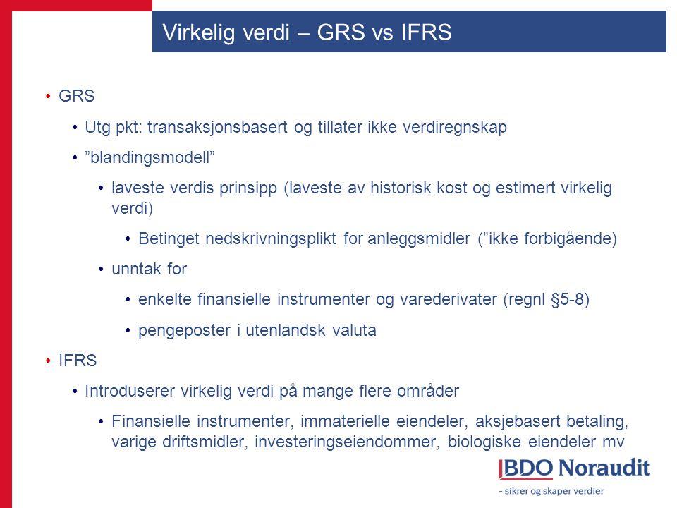Virkelig verdi – GRS vs IFRS