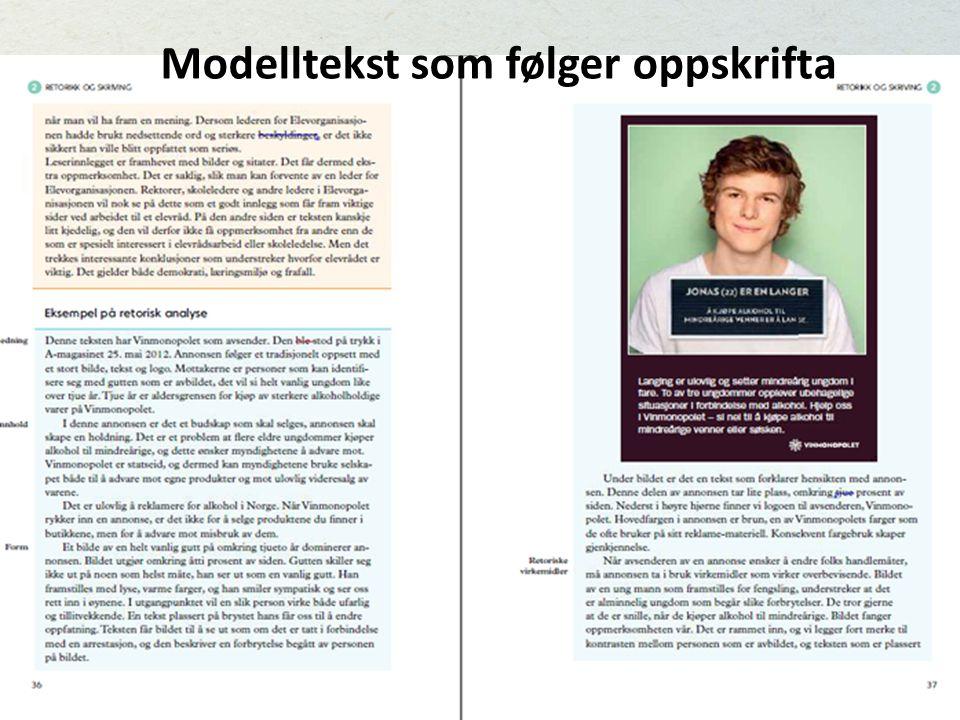 Modelltekst som følger oppskrifta