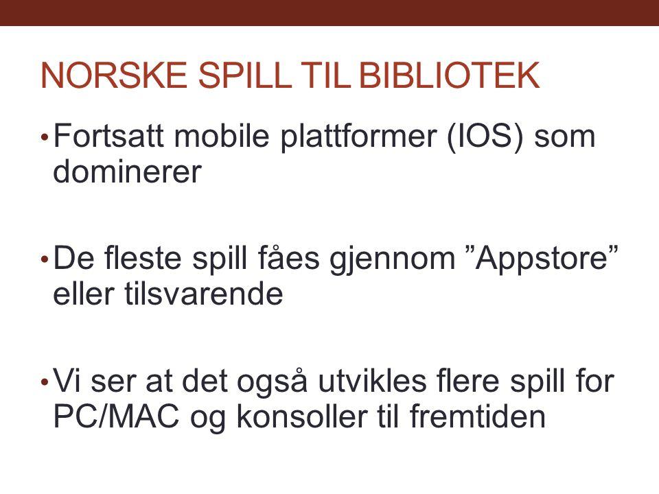 NORSKE SPILL TIL BIBLIOTEK