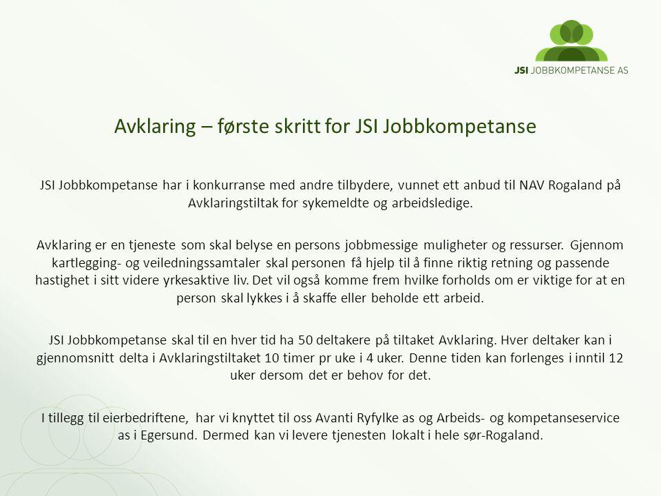 Avklaring – første skritt for JSI Jobbkompetanse