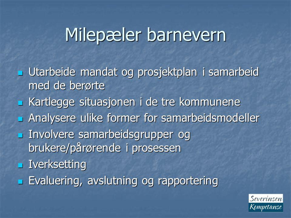 Milepæler barnevern Utarbeide mandat og prosjektplan i samarbeid med de berørte. Kartlegge situasjonen i de tre kommunene.