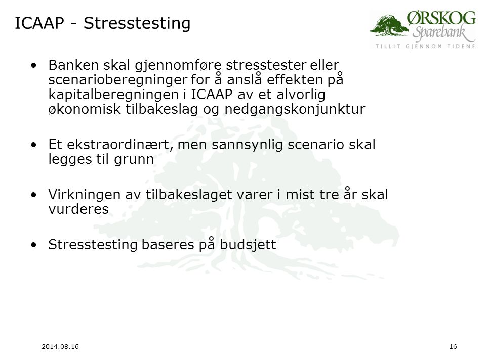 ICAAP - Stresstesting
