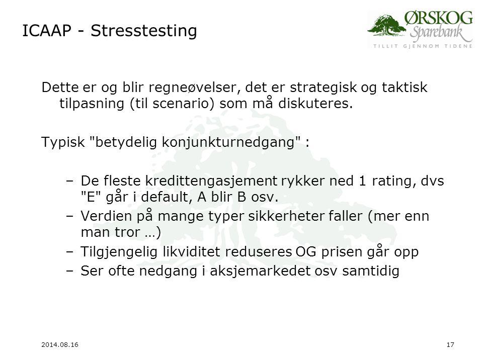 ICAAP - Stresstesting Dette er og blir regneøvelser, det er strategisk og taktisk tilpasning (til scenario) som må diskuteres.