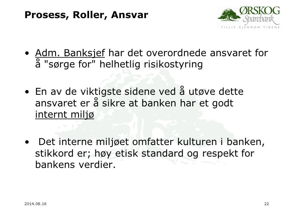 Prosess, Roller, Ansvar Adm. Banksjef har det overordnede ansvaret for å sørge for helhetlig risikostyring.