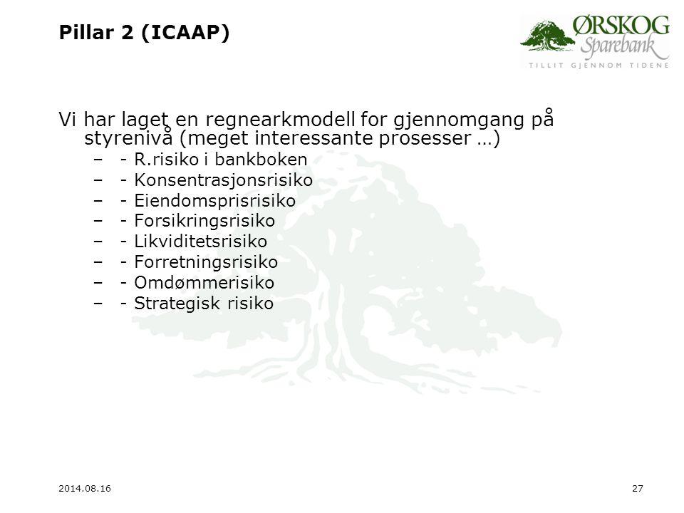Pillar 2 (ICAAP) Vi har laget en regnearkmodell for gjennomgang på styrenivå (meget interessante prosesser …)