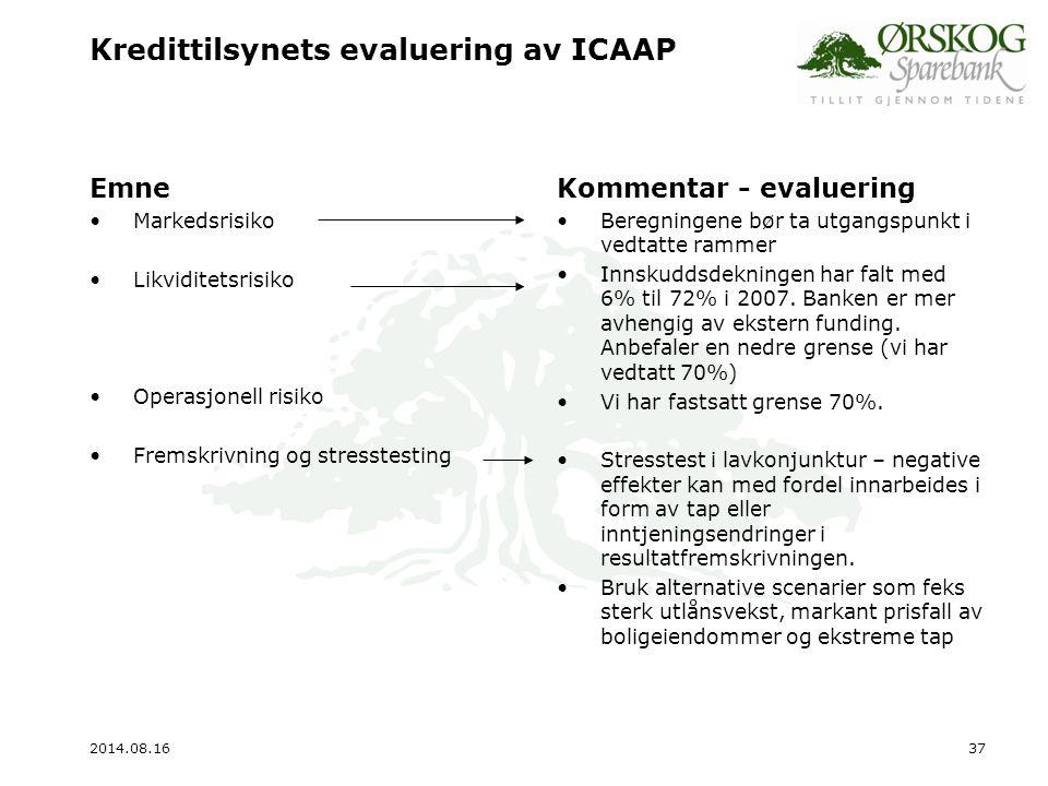 Kredittilsynets evaluering av ICAAP