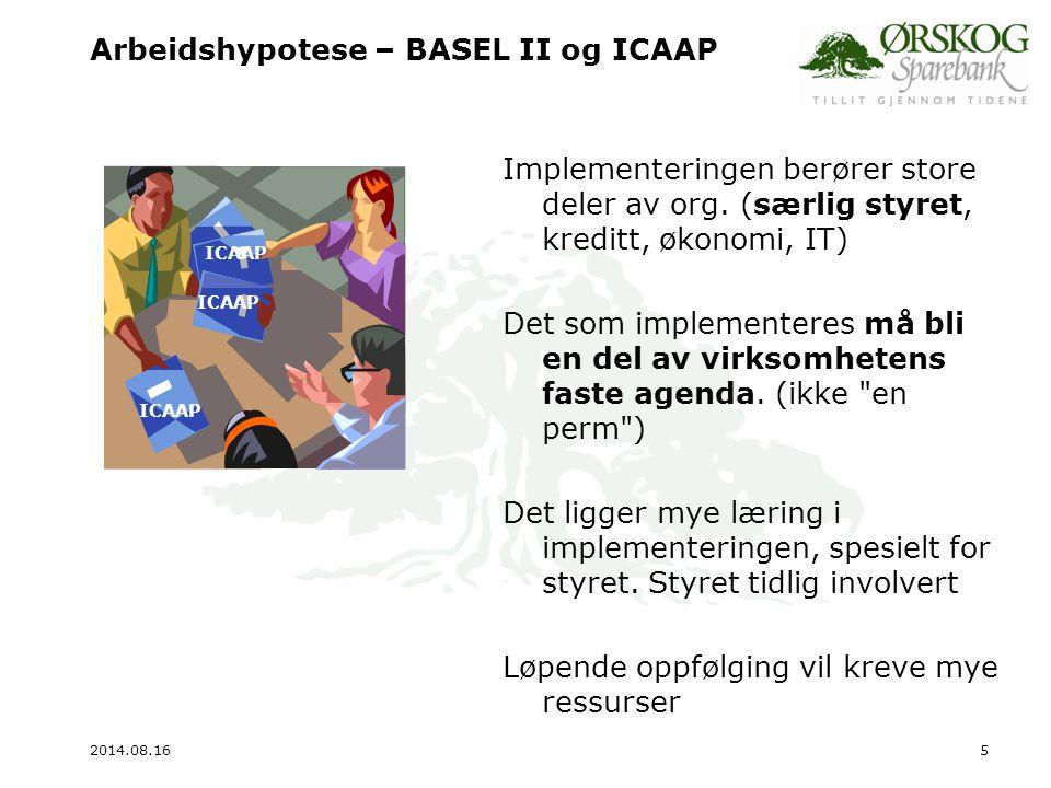 Arbeidshypotese – BASEL II og ICAAP