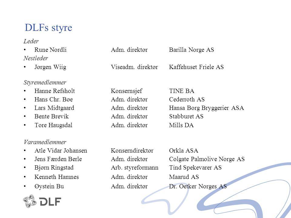 DLFs styre Leder Rune Nordli Adm. direktør Barilla Norge AS Nestleder