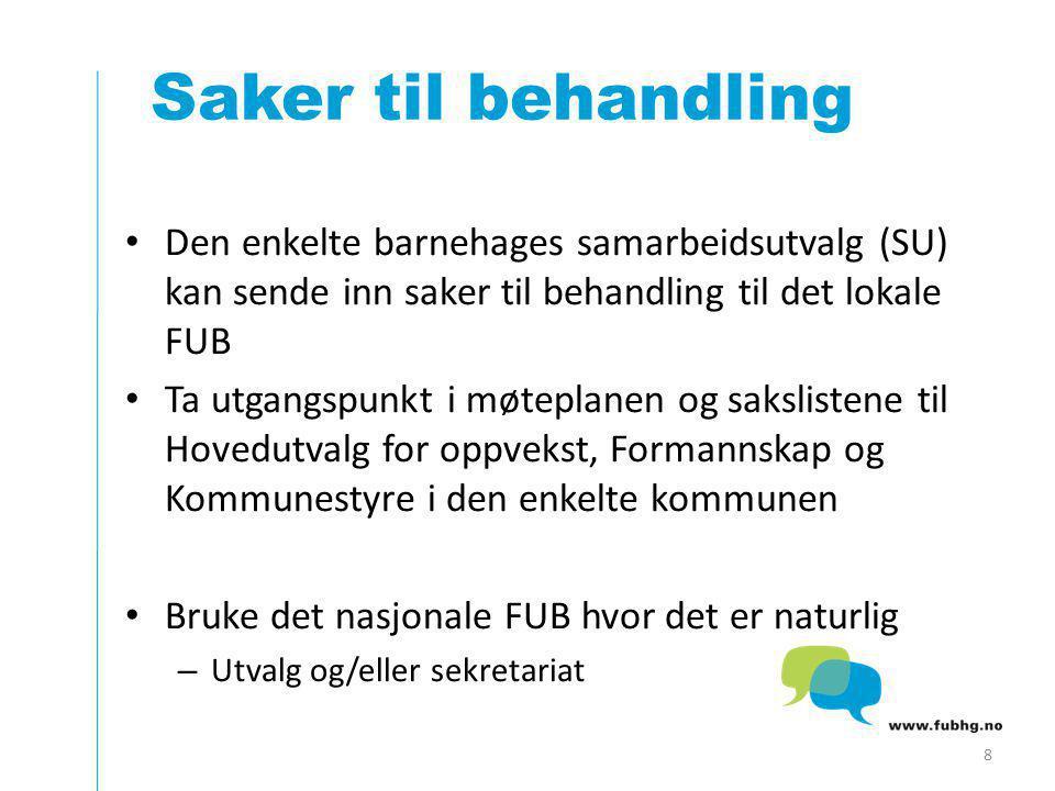 Saker til behandling Den enkelte barnehages samarbeidsutvalg (SU) kan sende inn saker til behandling til det lokale FUB.