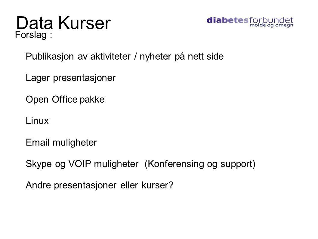 Internett Data Kurser. Forslag : Publikasjon av aktiviteter / nyheter på nett side. Lager presentasjoner.