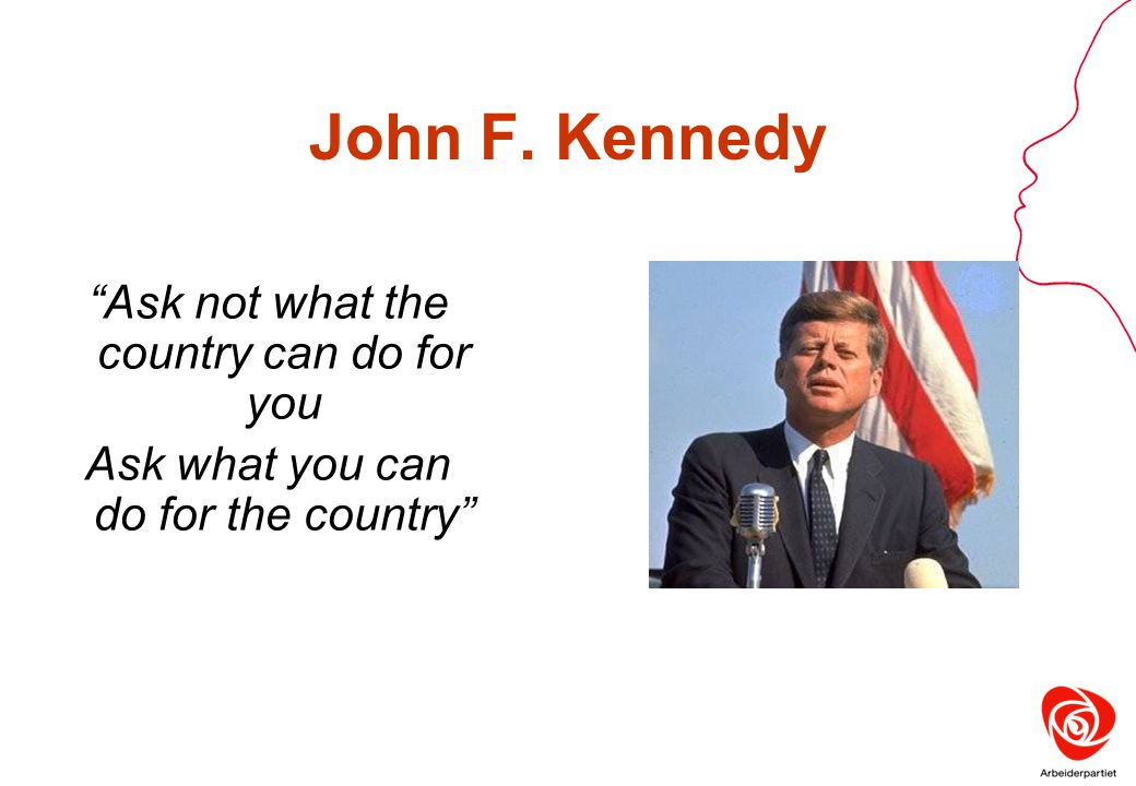 John F. Kennedy Ask not what the country can do for you