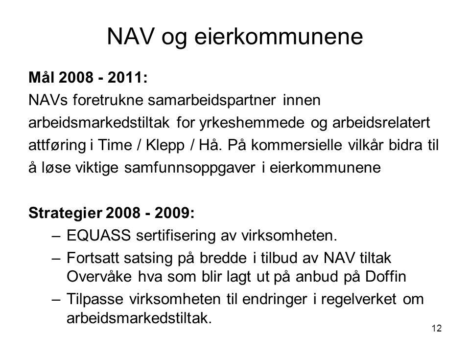 NAV og eierkommunene Mål 2008 - 2011: