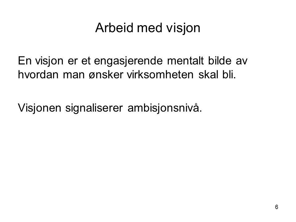 Arbeid med visjon En visjon er et engasjerende mentalt bilde av hvordan man ønsker virksomheten skal bli.