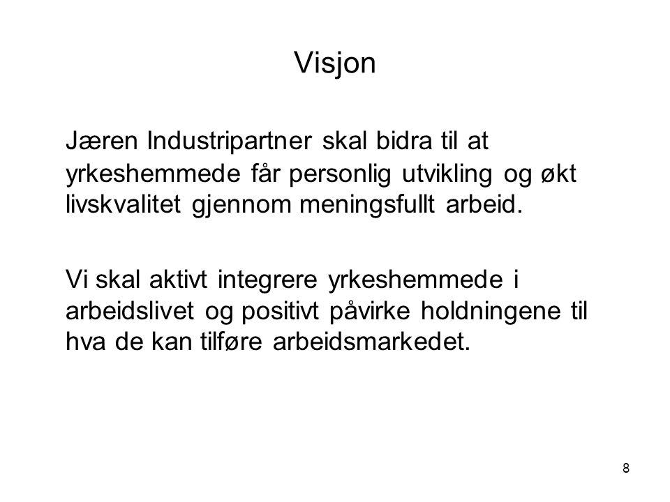 Visjon Jæren Industripartner skal bidra til at yrkeshemmede får personlig utvikling og økt livskvalitet gjennom meningsfullt arbeid.