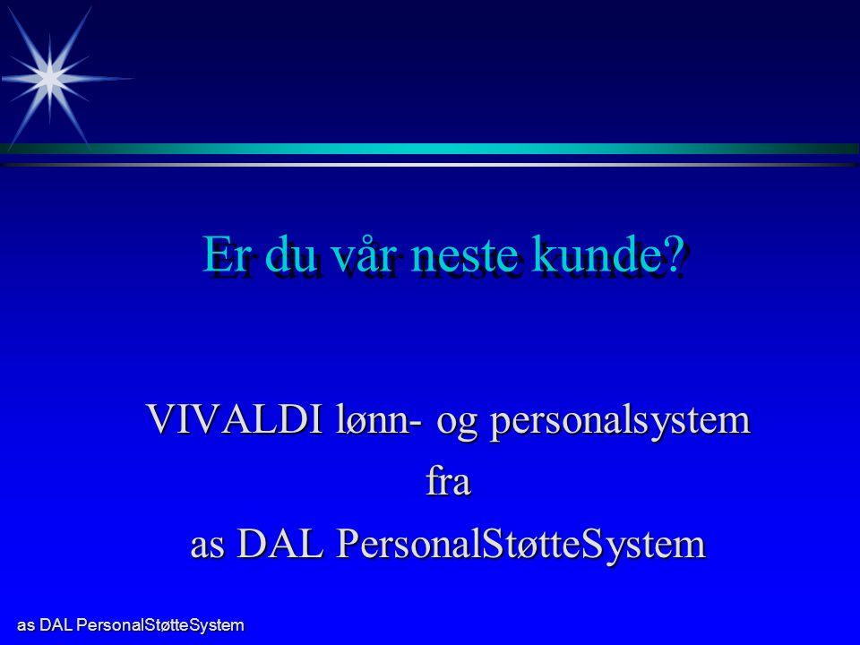 VIVALDI lønn- og personalsystem fra as DAL PersonalStøtteSystem