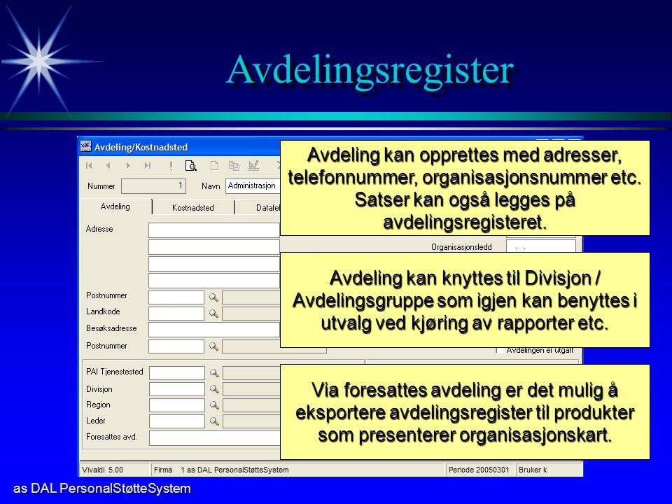 Satser kan også legges på avdelingsregisteret.