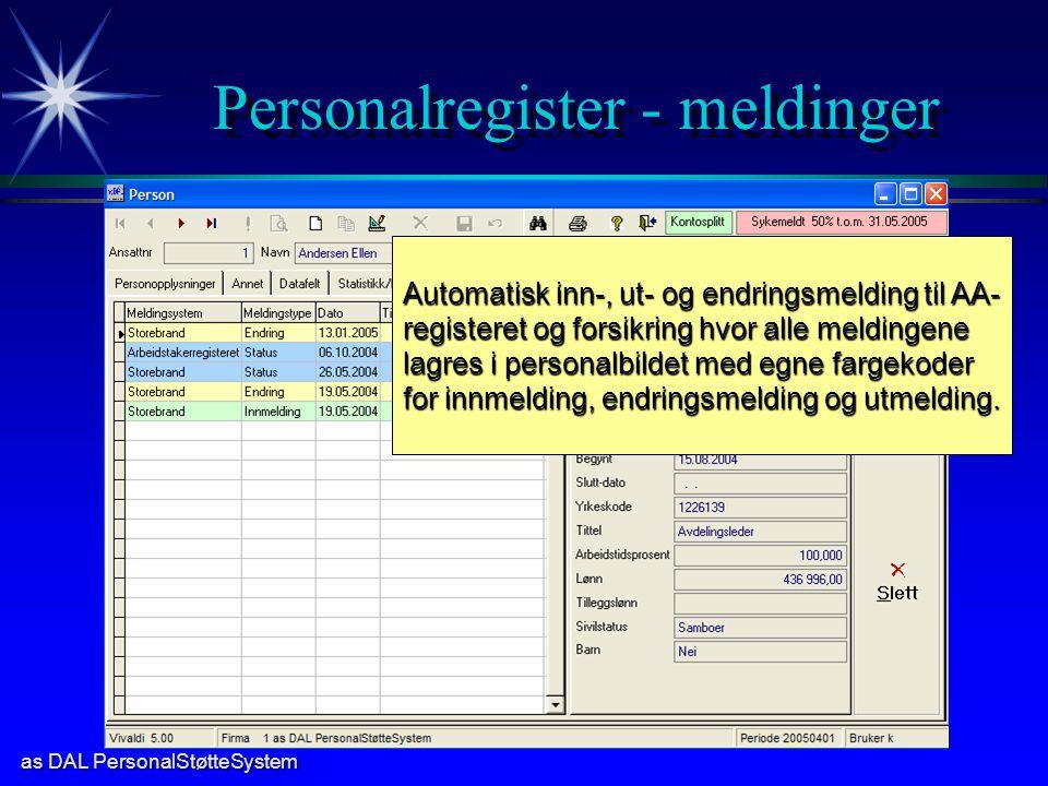 Personalregister - meldinger